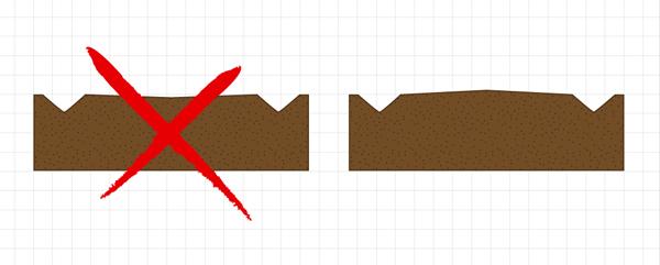 На полотне трассы не должно быть впадин, где могла бы собираться вода — полотно трассы в разрезе не должно быть жёлобом, лучше чтобы трасса была слегка выпуклой — вода с неё должна скатываться. Рисунок 1