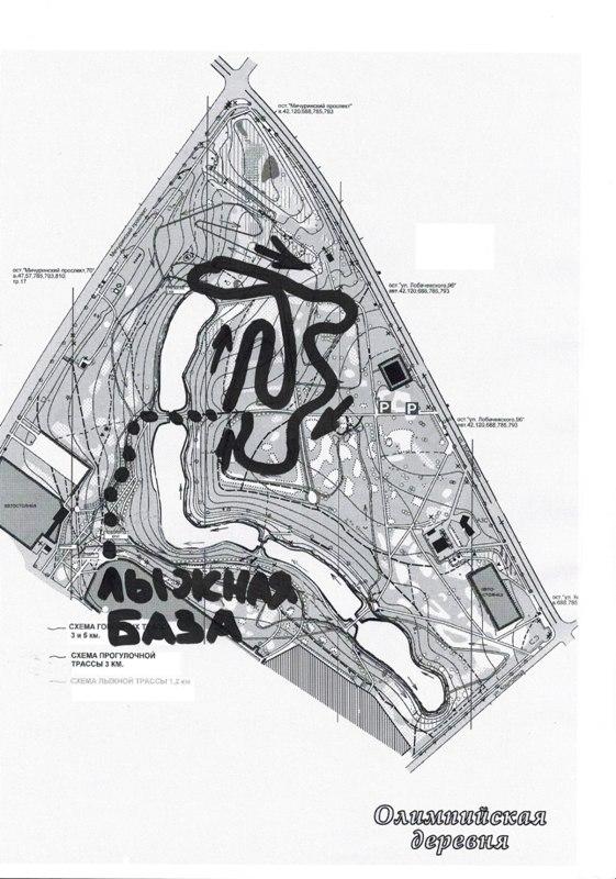 Схема трассы в Олимпийской