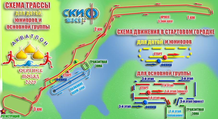 Схема трассы акватлона