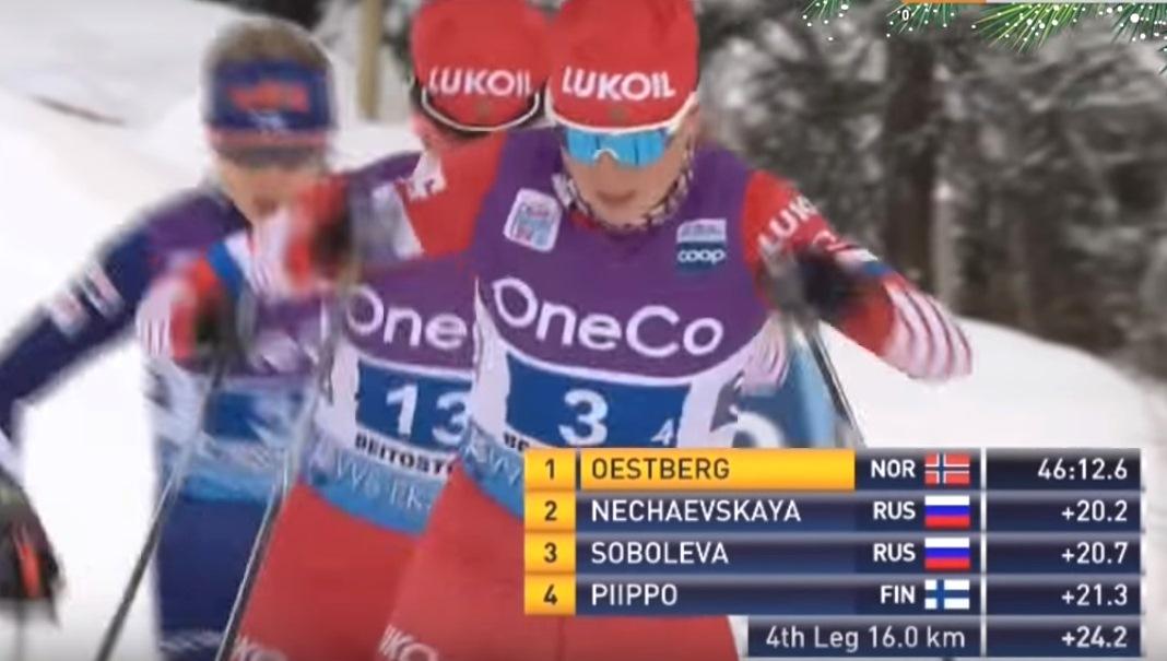 Анна Нечаевская и Елена Соболева поочередно лидировали весь четвертый этап, стараясь измотать преследовавшую их финку.