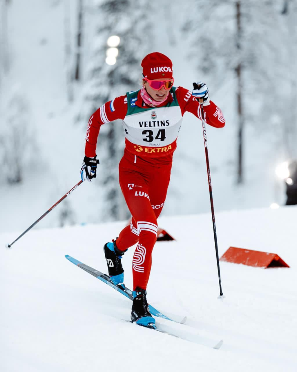 Татьяна Сорина на отборочной гонке классическим стилем в Муонио.