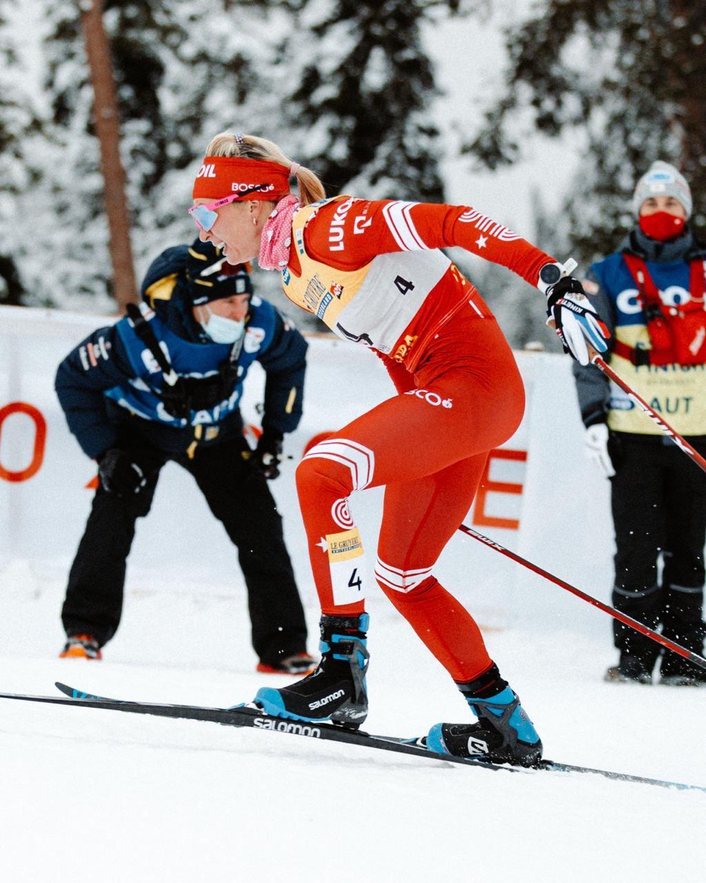 На этом подъеме Татьяна уходит в отрыв от шведок и финиширует со вторым результатом.