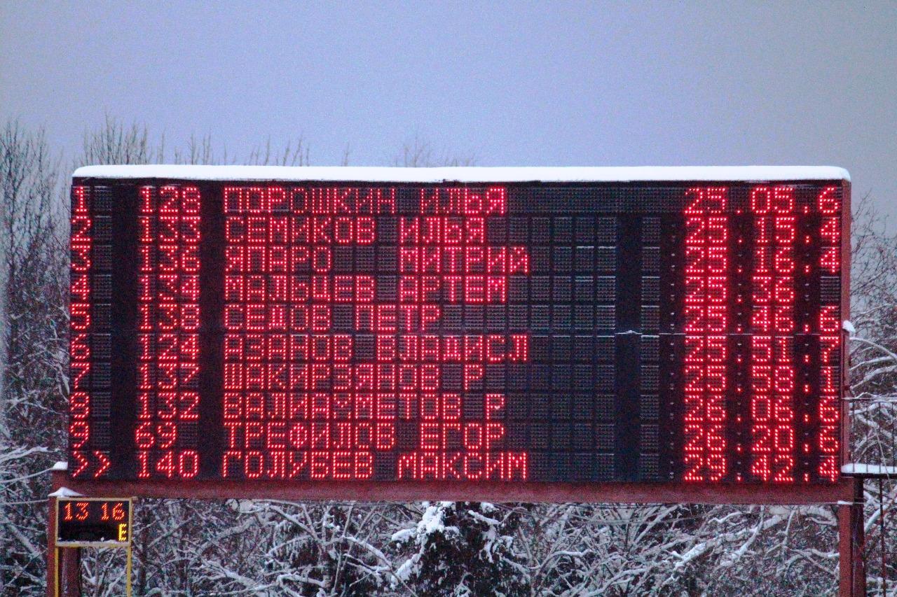 Предварительные результаты мужской гонки на финишном табло.