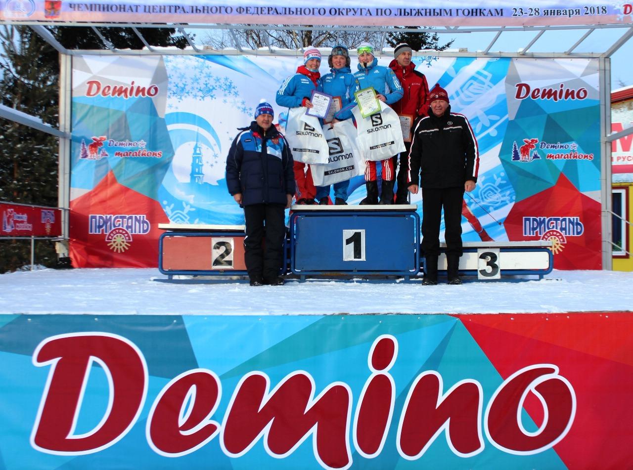 А церемонию награждения победительницы, ее тренера и призеров в этот день провели тех.делегат Виктор Григорьев и президент федерации лыжных гонок Ярославской области Виктор Попов.